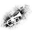 Silhouette of trumpet with grunge black splashes vector image