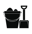 Bucket and shovel for childrens sandboxe icon vector image