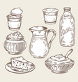 a set of dairy products in vector image