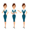 business women characters three different poses vector image