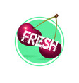 cherry drink label design berries juice sticker vector image