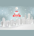city for christmas season with snowflake and tree vector image