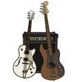 Classic and bass electric guitars with the combo vector image