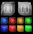 Flip-flops Beach shoes Sand sandals icon sign Set vector image