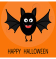 Happy Halloween card Cute cartoon bat flying Big vector image
