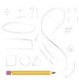 pencil hand drawn shapes vector image