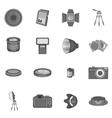 Photo studio icons set monochrome style vector image