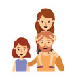 colorful caricature half body family with short vector image