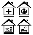 Icons with medical wc food and bed on home vector image