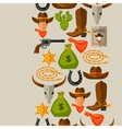 Wild west seamless pattern with cowboy objects and vector image
