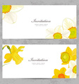 invitation cards with lovely daffodils for your vector image