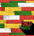 cinco de mayo badge and seamless wooden pattern vector image