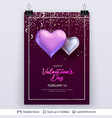 pair of 3d heart shaped air balloons and text vector image