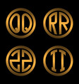set 1 of templates from two capital golden letters vector image