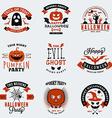 Set of Vintage Happy Halloween Badges Stickers vector image