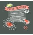 Silhouette crab shrimp fish lemon vector image