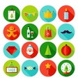 Merry Christmas Flat Icons vector image