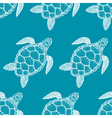 Seamless pattern with sea turtle in line art style vector image