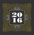 New Year 2016 retro hispter line monogram vector image