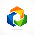 abstract 2D circle color shape logo vector image