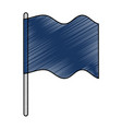 blue flag silhouette isolated icon vector image