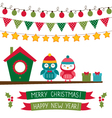 Christmas set with owls vector image