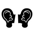 ears icon black sign on vector image