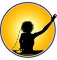 Female DJ silhouette border vector image