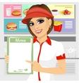female fast food restaurant employee vector image