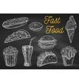 Fast food snacks and drinks chalk sketch icons vector image