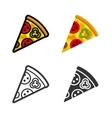 Pizza colored icon set vector image