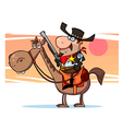 Western Sheriff On Horseback In Front Of A Sunset vector image