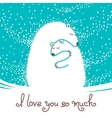 Greeting card with mother bear hugging her baby vector image