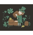 Leprechaun drinks beer from a wooden barrel vector image
