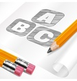 Pencils and letters on paper vector image