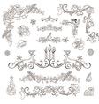 Christmas decoration set isolated on white vector image