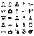 bridal icons set simple style vector image