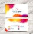 colorful ink style business card template design vector image