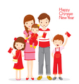 Family Happy With Red Envelopes vector image
