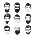 set of bearded hipster men faces haircuts vector image