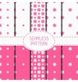 Set of pink geometric floral seamless pattern with vector image