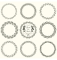 Set of round floral handdrawn wreaths vector image