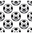 Smiling football balls seamless pattern vector image