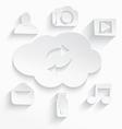 White cloud computing symbols arrows cut vector image