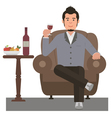 Man and Wine vector image
