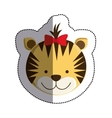 color sticker with female tiger head and middle vector image