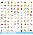 100 biology icons set cartoon style vector image