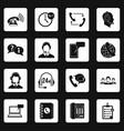 call center symbols icons set squares vector image