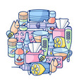 background with medicines and medical objects vector image
