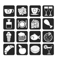 Silhouette Food and beverage icons vector image vector image